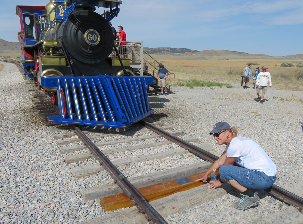 The last rail waiting for the ceremonial Golden Spike to be driven in to complete the Transcontinental Railroad.