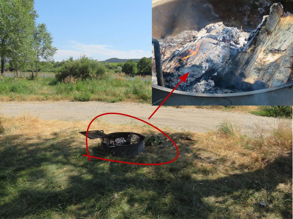 One of about a dozen abandoned campfires we've encountered