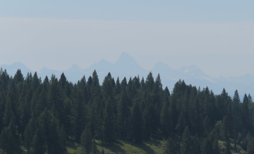 The Grand Tetons, hazy in the distance