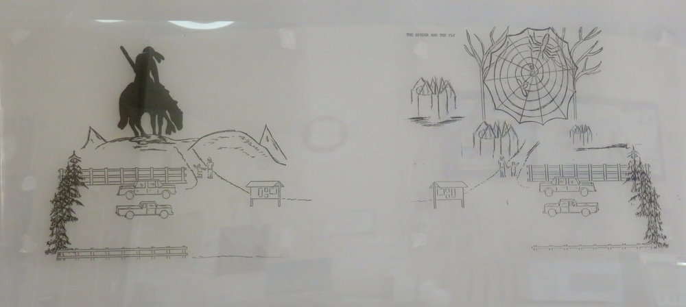 We looked at posted sketches of the next sculptures to be built ... End of the Trail and Spider Web