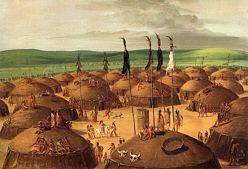 Mandan Village - George Catlin 1832 - the original in on display at the Smithsonians
