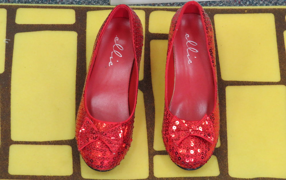 Faux ruby slippers