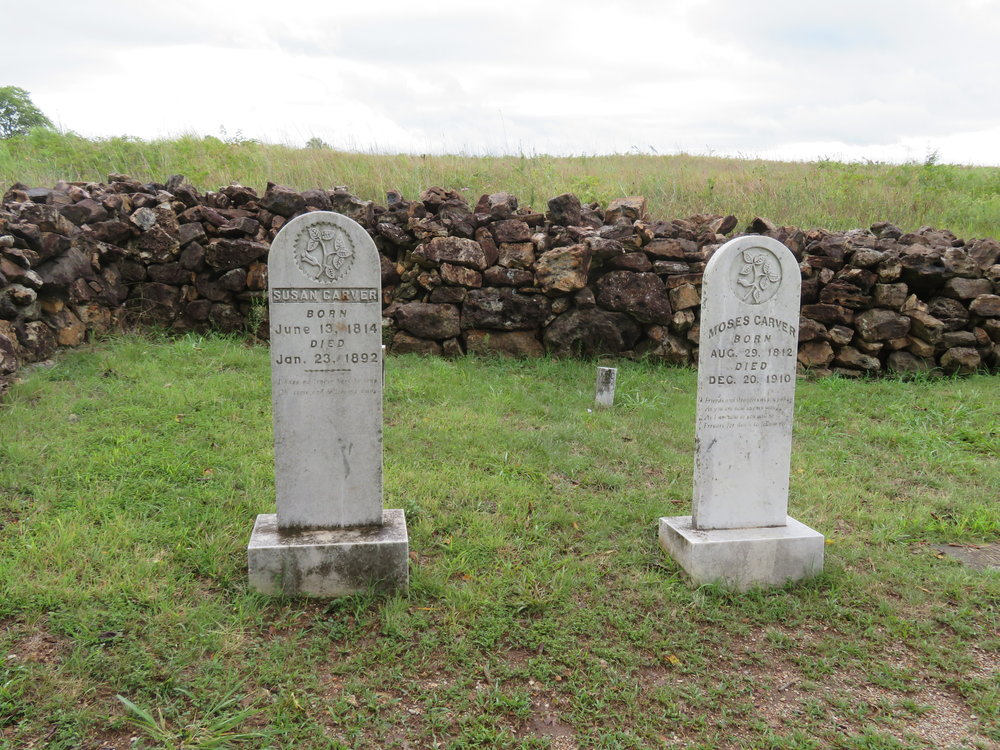 The family cemetery included the gravestones of Moses and Susan Carver along with many other family members.