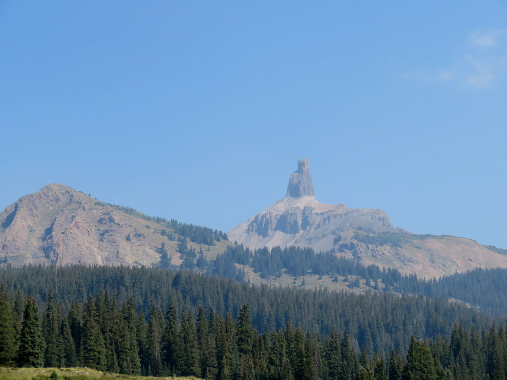 A hazy view of the Lizard Head at Lizard Head Pass