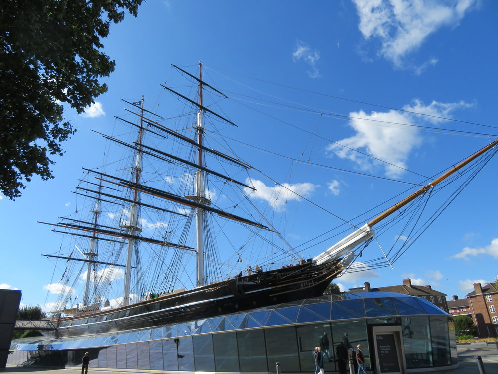 Just down from the College, we found the  Cutty Sark  in all its splendor, the last of the great tea clippers … confined to dry dock forever.