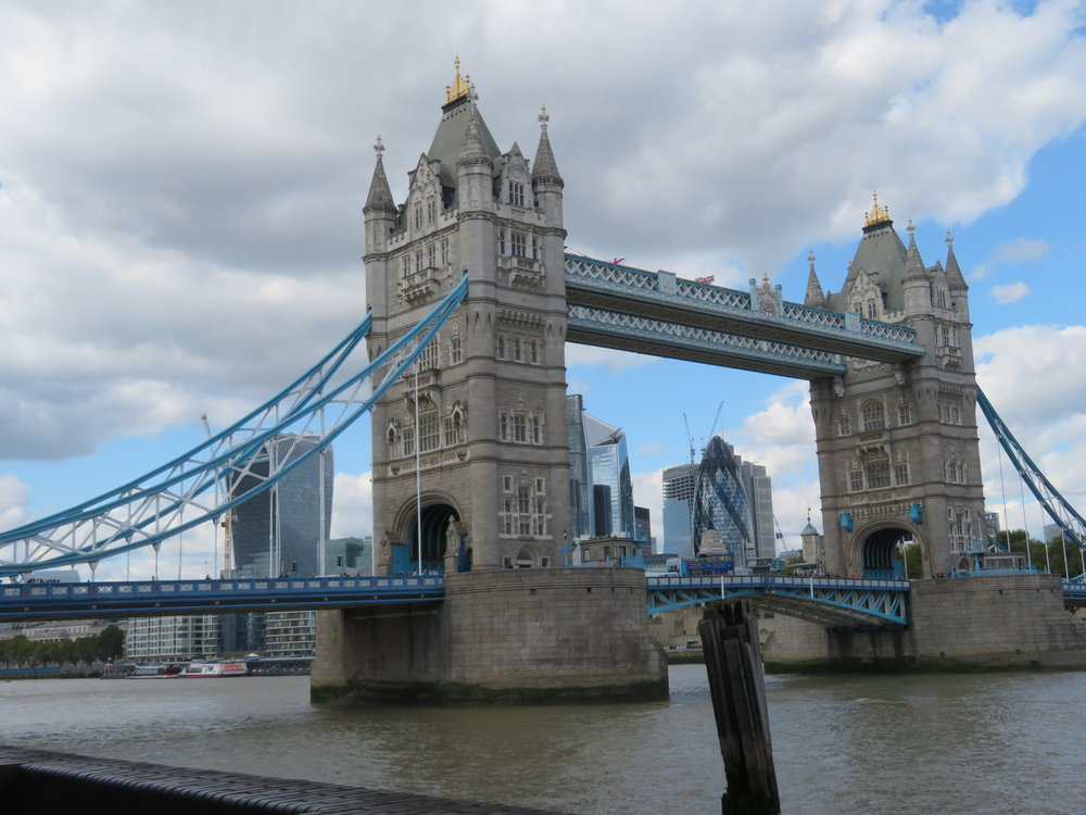 Beautiful Tower Bridge ... the end of our first day on the Thames Path
