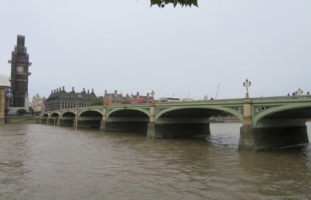 Elizabeth Tower  at the end of Westminster Bridge