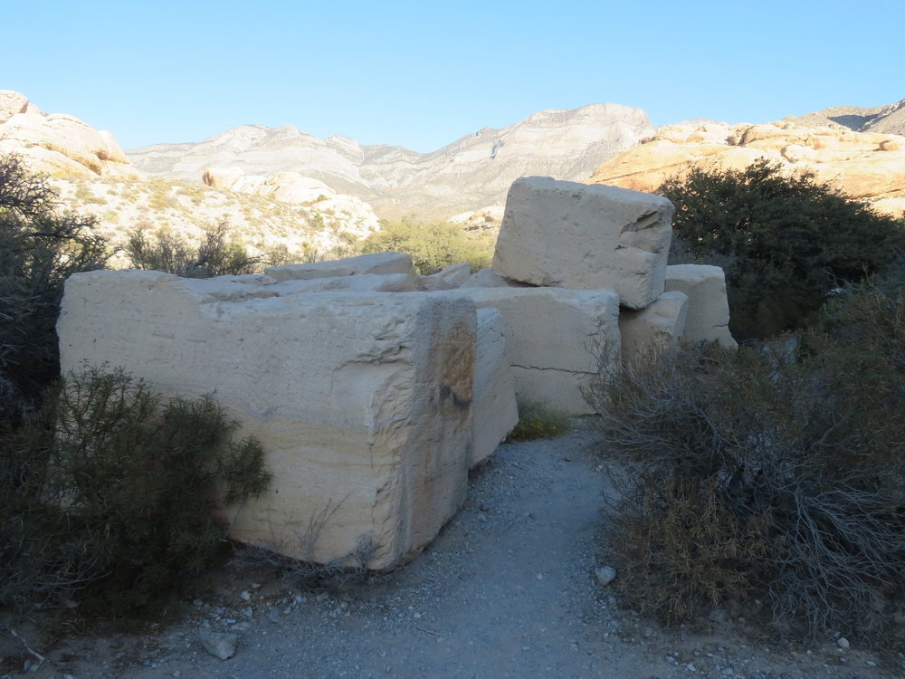 Huge sandstone rocks from the Sandstone Quarry used to be shipped to California for decorative building facades.