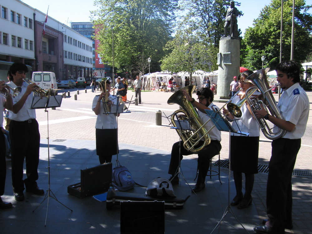 The Salvation Army Band played Christmas carols in downtown Concepcion.