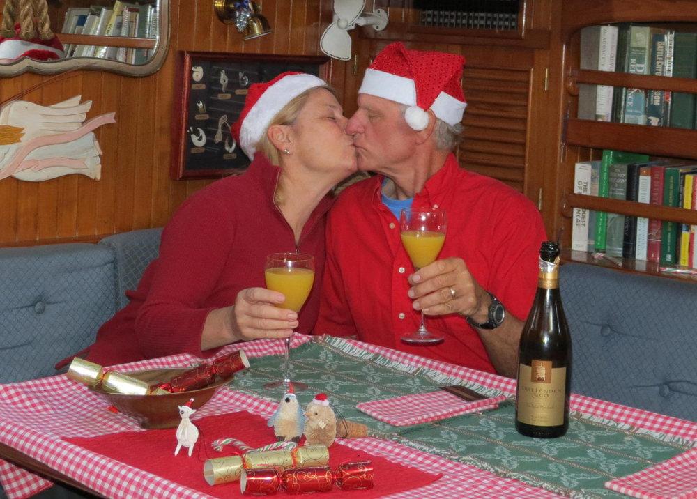Christmas morning kiss