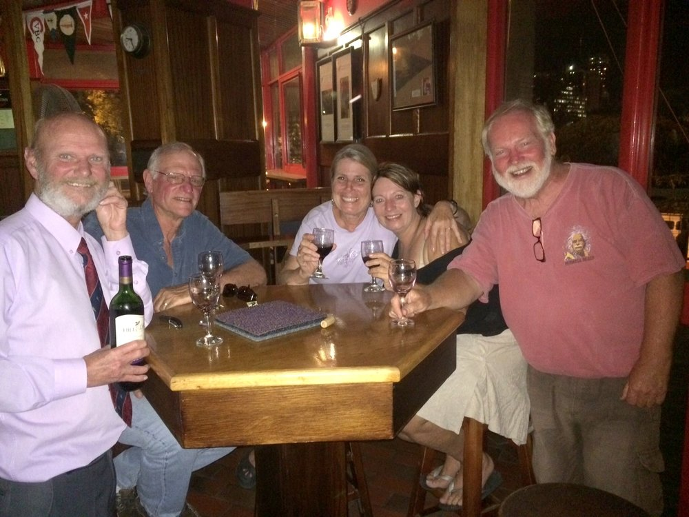 An early Christmas celebration with the crew of Wind Wanderer in Cape Town, South Africa.