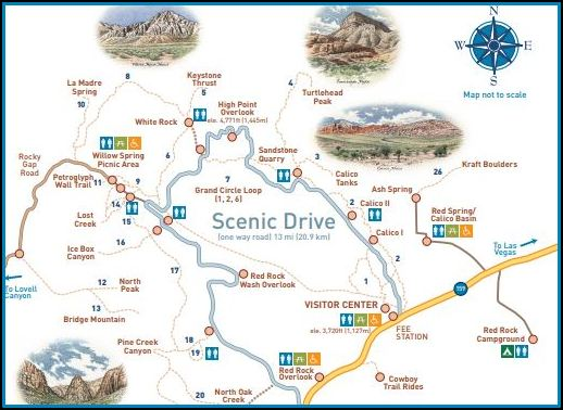 A park map shows the Grand Circle Loop and a more detailed trail map is available from the park office.