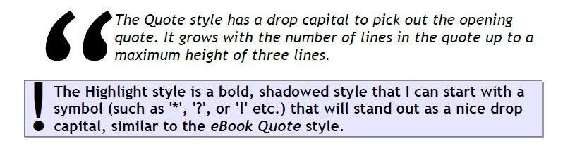 Examples of the quotation style and the highlight style