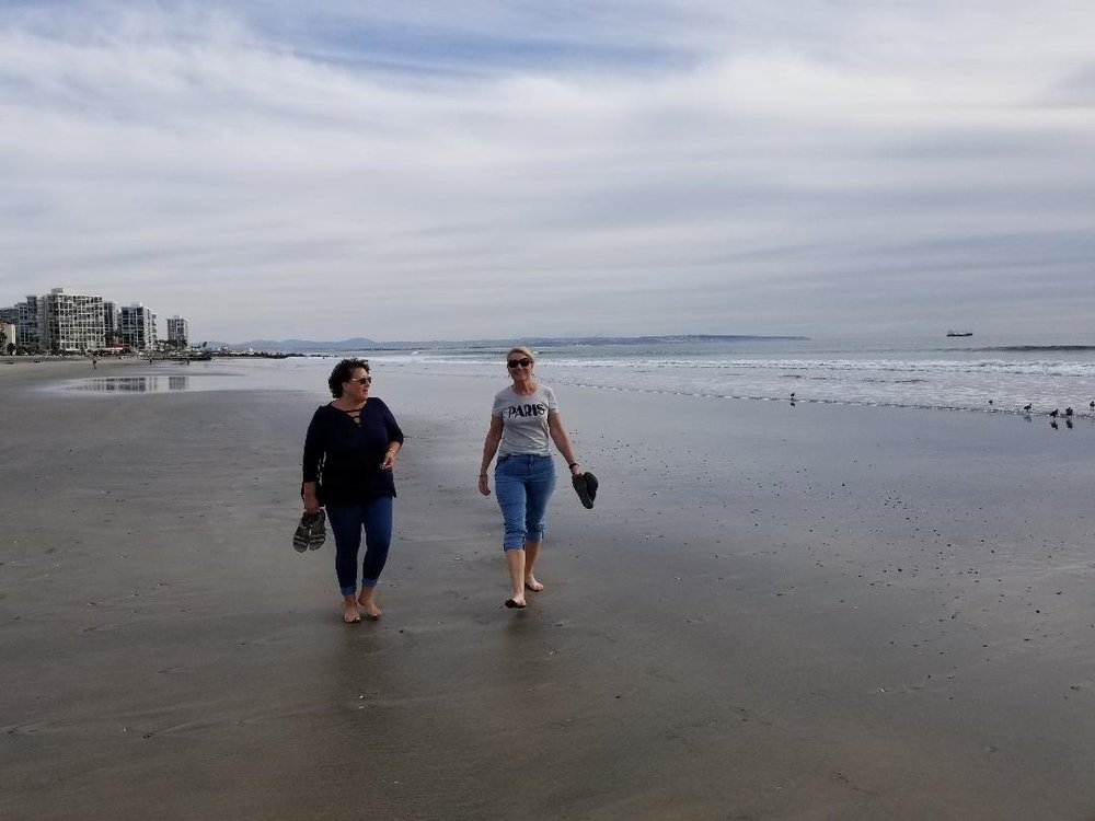 Walking the Coronado Beach. Barefoot in January and life is good.