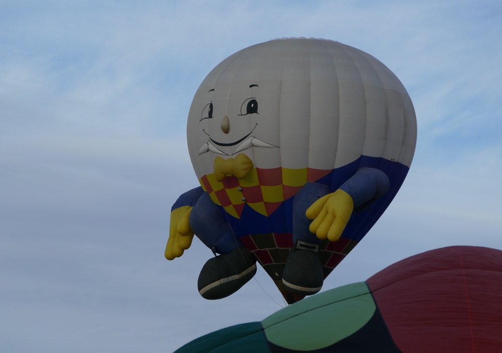 Some balloons seem more animated than others … Humpty Dumpty, for instance, his arms and legs dangling and swinging in the breeze.
