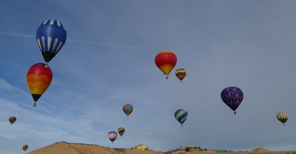 A balloon-filled sky over Mesquite