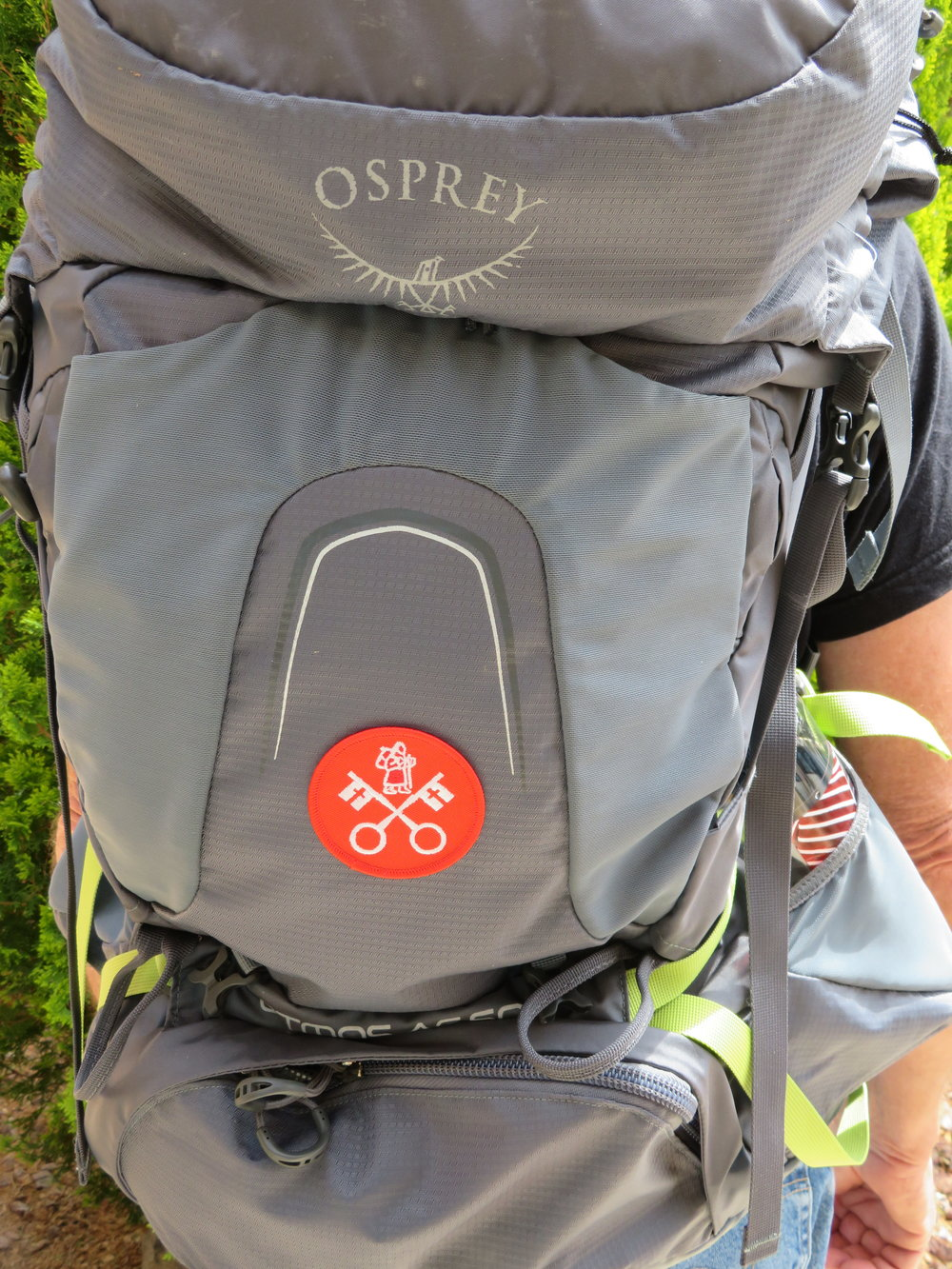 Last, but not least, I attached our Via Francigena pilgrim patches to our backpacks. They weigh only an ounce a piece. Well, worth the extra weight.