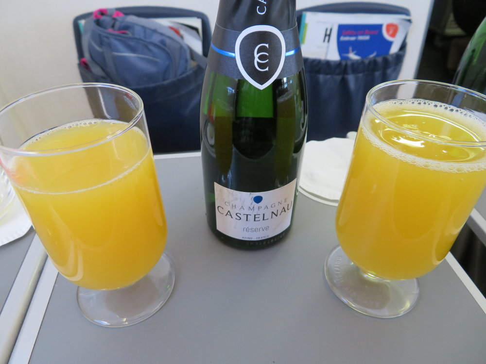 Mimosas during the flight made with real French champagne made the flight 'oh, so civilized'. I'm loving this!