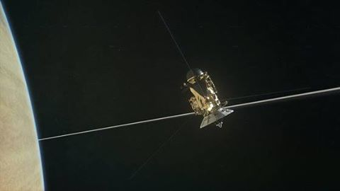 http://www.space.com/36693-saturn-big-empty-cassini-second-ring-dive.html Hear Saturn's 'Big Empty' from Cassini, Which Just Made 2nd Ring Dive  Space.com - 3 h ago  The space between Saturn and its rings is eerily silent: Researchers monitoring the Cassini spacecraft were surprised to encounter almost no dust and debris during the spacecraft's first dramatic dive through the gap, and you can hear the strange lack ...