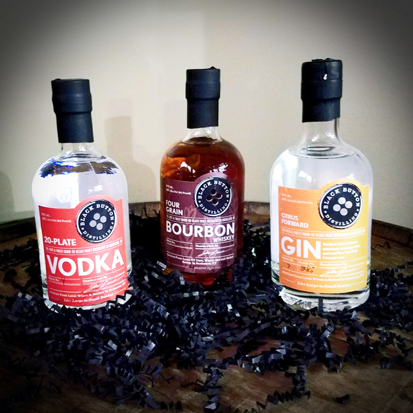 Sampler Pack - 375ml bottles of our best work:  20-Plate Vodka, Citrus Forward Gin and Four Grain Bourbon