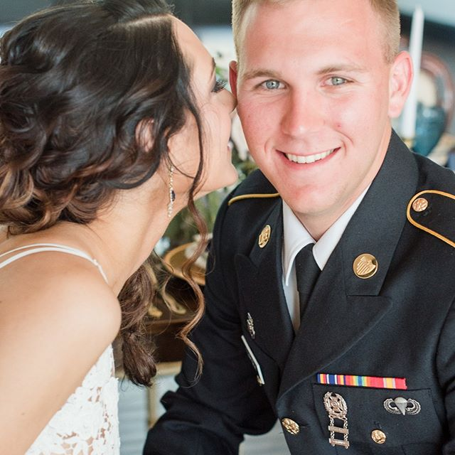 A man in uniform--Jacob, you rocked it! We love our military men & women. Thank you for your service!  Planner: @MagnificentMomentsWeddings | Photographer: @charlotteweddingcollective | Cake: @skysthelimitcakes | Calligraphy: @oceanandcoralcalligraphy | Venue: @southerncharmevents | Rentals: @evermoreeventco | Model (Bride): Dana @danarenata | Model (Groom): Jacob @jacobearly14 | Flowers: @MagnificentMomentsWeddings | Hair: Michelle Seuss @ | Make-up: Jennifer Carver @ | Dress: @jmajorsbridal