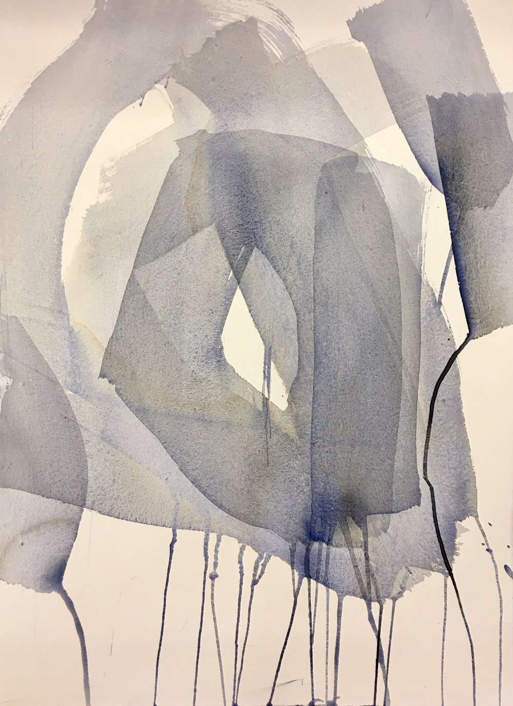 """Ghost II   Watercolor and ink on paper  Unframed, 22"""" x 30""""  SOLD"""