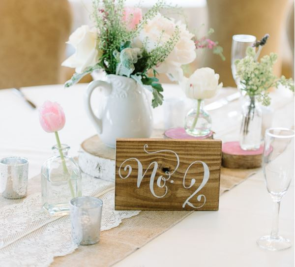 rustic wedding table number, rustic wedding table sign, light stain michelle lange.JPG