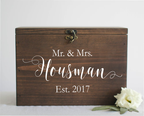 Wedding Cards Box With Slot   Mr. & Mrs.   Established Date   SS-3 ...