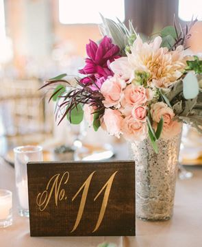Rustic wooden table numbers wedding decor Sweet Carolina Collective