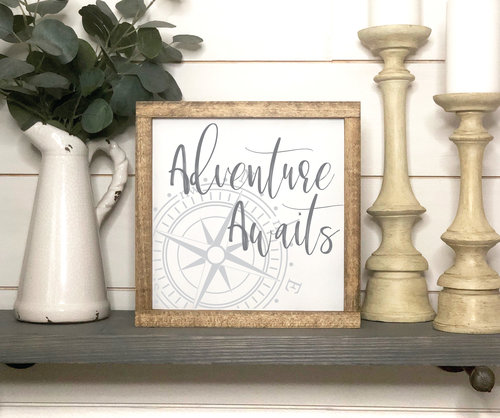Adventure Awaits Wooden Framed Sign