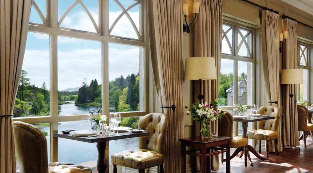 Dining with a view in the Owenmore Restaurant. Photo courtesy of Ballynahinch Castle