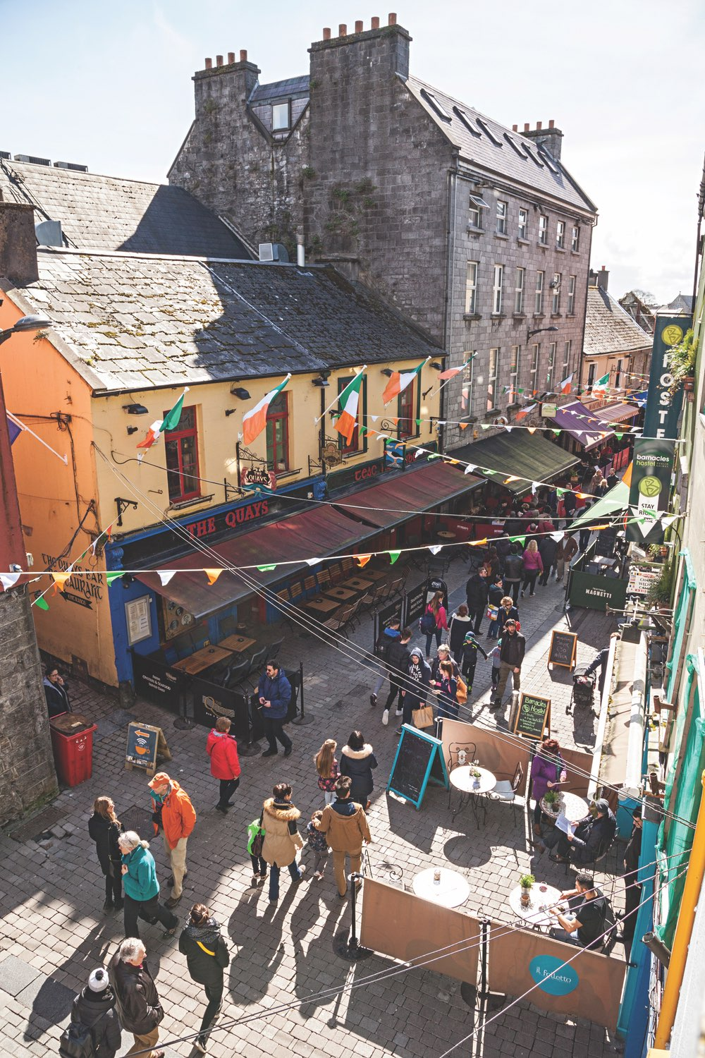 Galway's pedestrian laneways are full to the brim with pubs and cafes. Photo by Nicholas Grundy