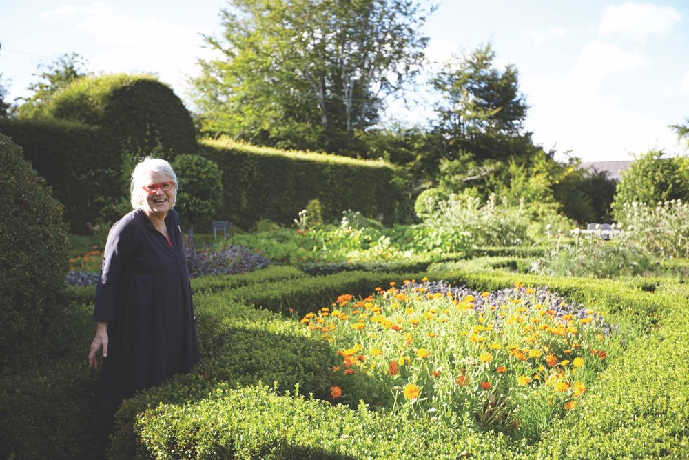 Darina Allen poses in the gardens at Ballymaloe Cookery School