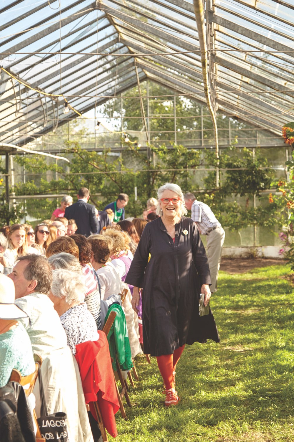 Darina Allen hosting an event with guests at Ballymaloe Cookery School