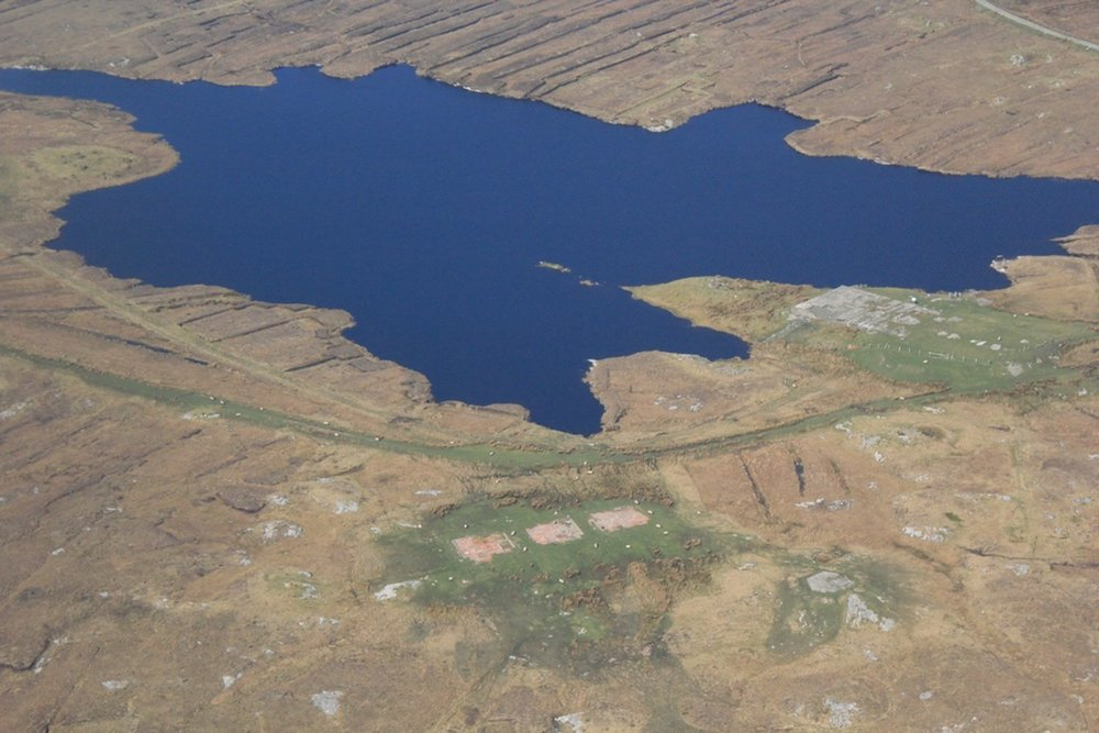 Aerial of The Derrygimlagh landscape, it offers breathtaking views spotted with tiny lakes and peat bogs.
