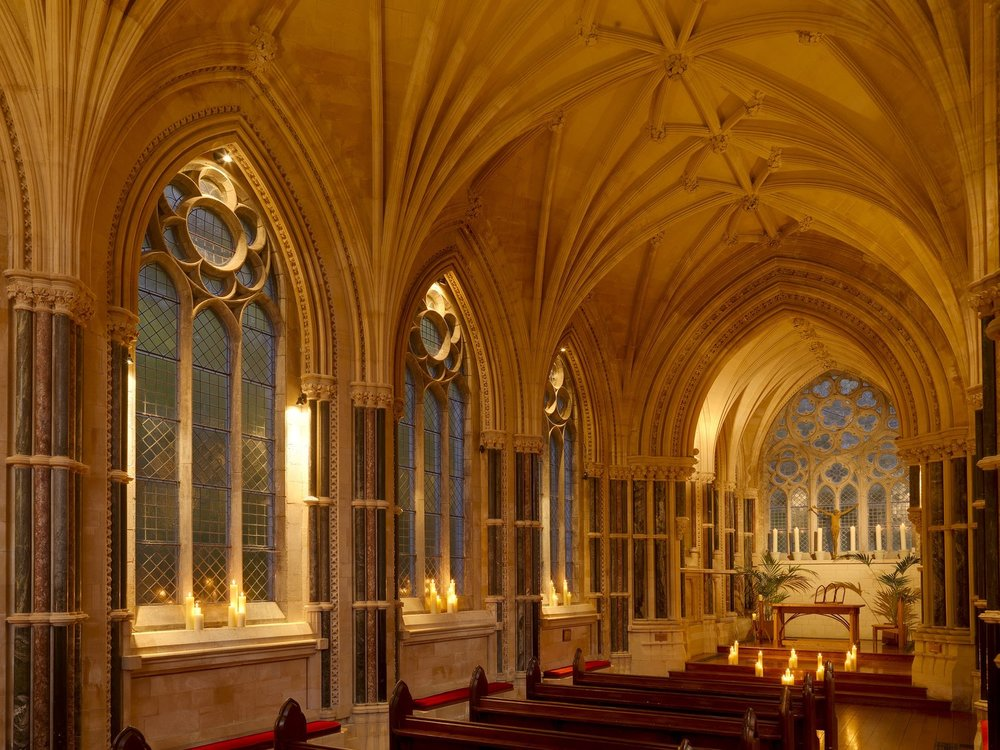 Kylemore Abbey interior of cathedral-in-miniature Gothic Church
