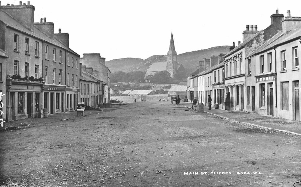 Main Street, Clifden, by Robert French. Published between 1865–1914, courtesy of the Lawrence Collection, National Library Ireland