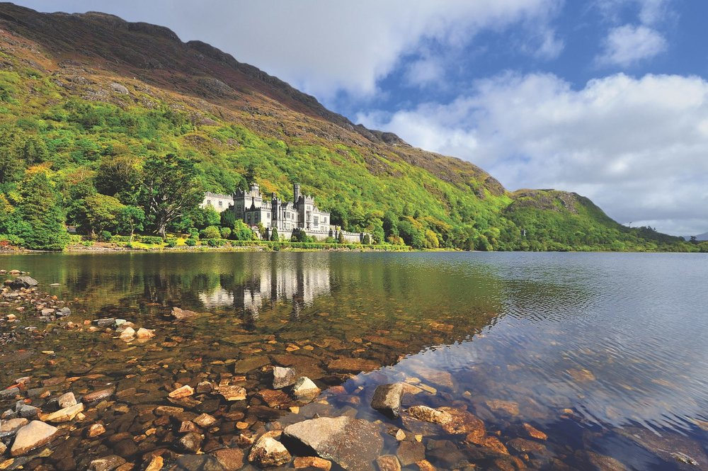 Kylemore Abbey in Connemara, County Galway. Kylemore Abbey was originally built in the 1870s as a private residence but has been a Benedictine monastery since 1920.