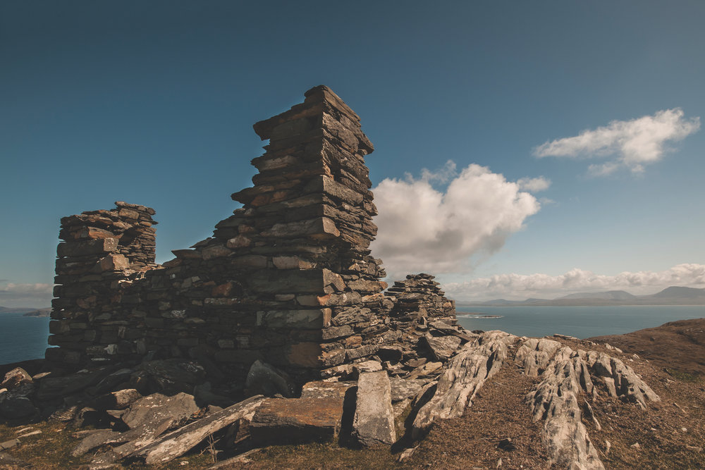 Inishturk Signal Tower, which was built around 1805, is located at the highest point of the island; Photo by Mark Furniss Photography