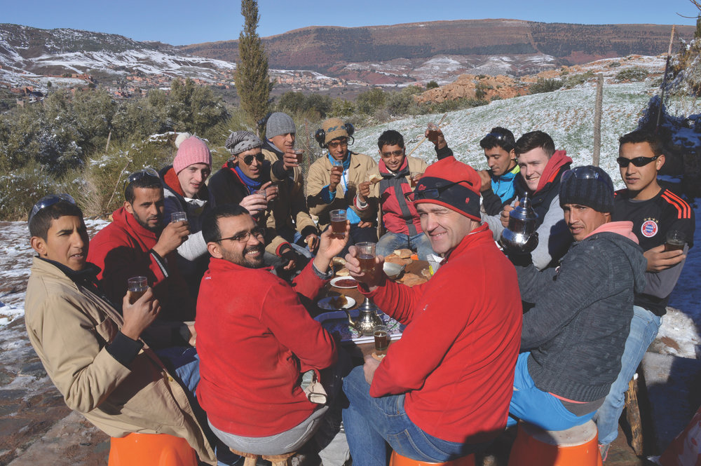 Letterfrack and TWC members enjoying tea in the High Atlas Mountains