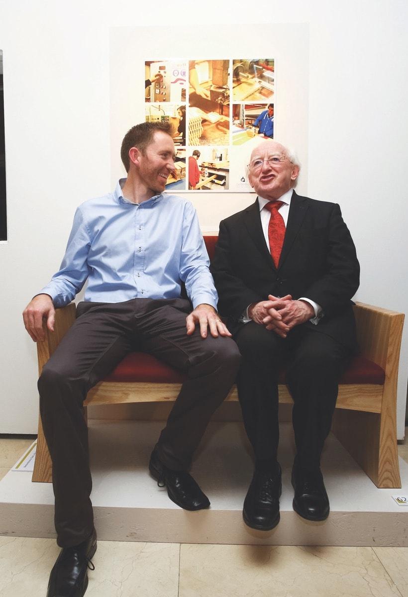 President Michael D. Higgins and GMIT Letterfrack lecturer Sean Garvey