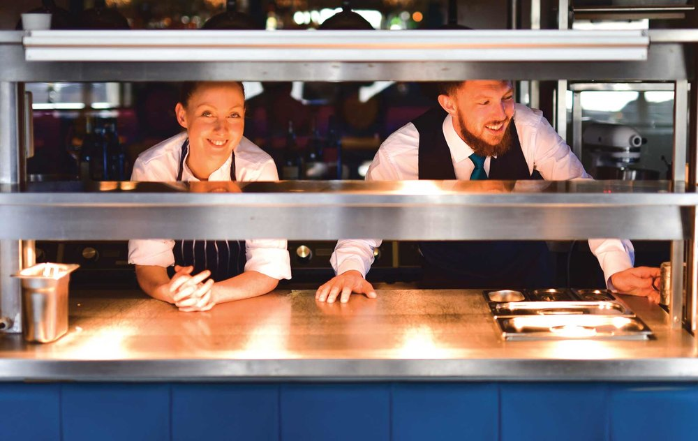 Head chef Sinéad Quinn with restaurant manager James O'Toole on the pass in Erriseask