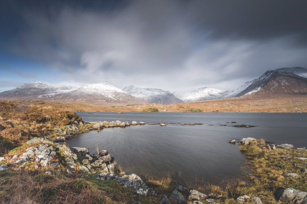Derryclare Lough looking out towards the Glencoaghan Horseshoe – Photo by Mark Furniss Photography