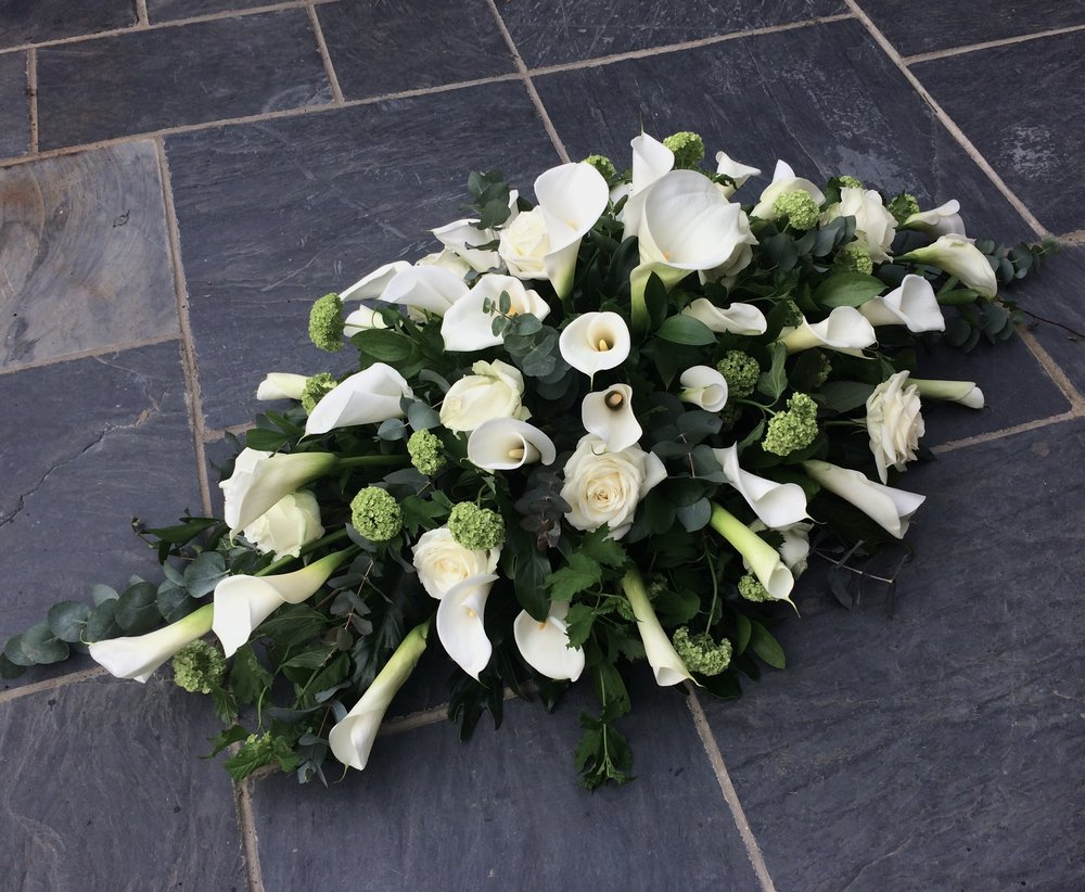 Luxury Arum Lily and Rose Coffin Spray