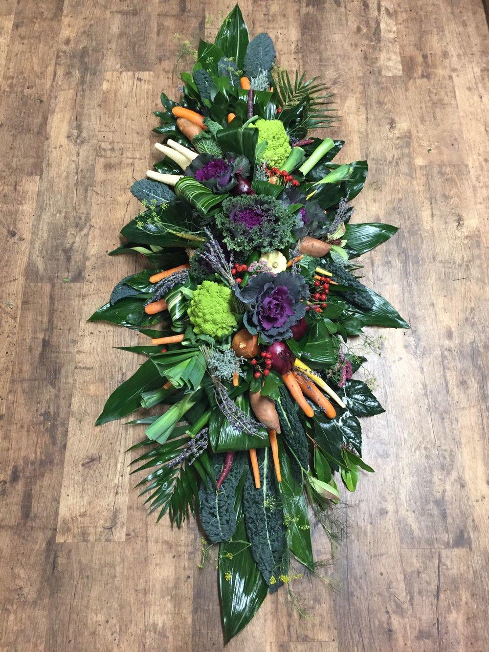 Seasonal Vegetable tribute coffin spray