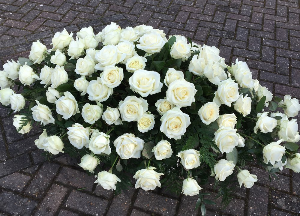 Luxury ivory Rose coffin spray