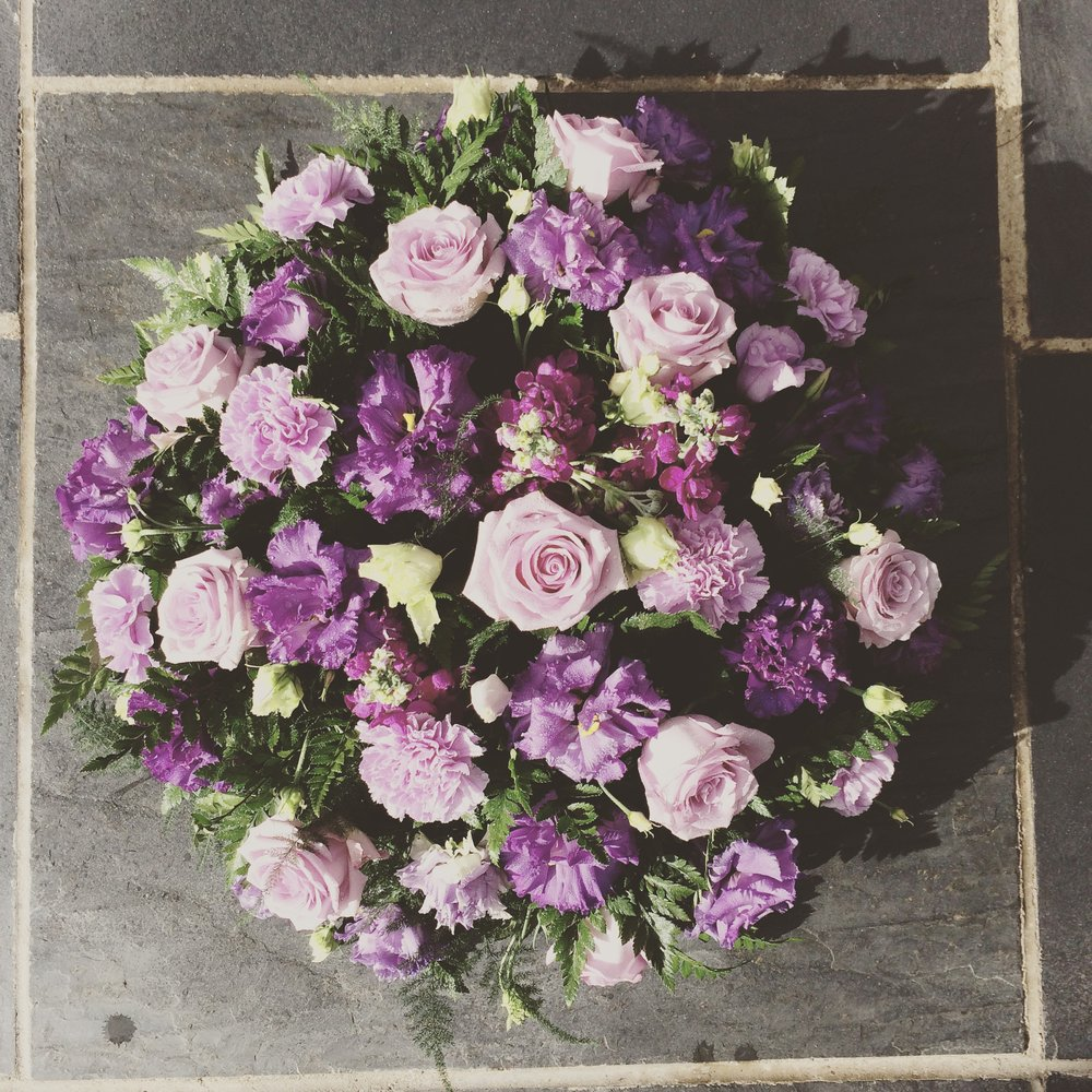 Summer Lilac Rose and Eustoma Posy Pad.jpg