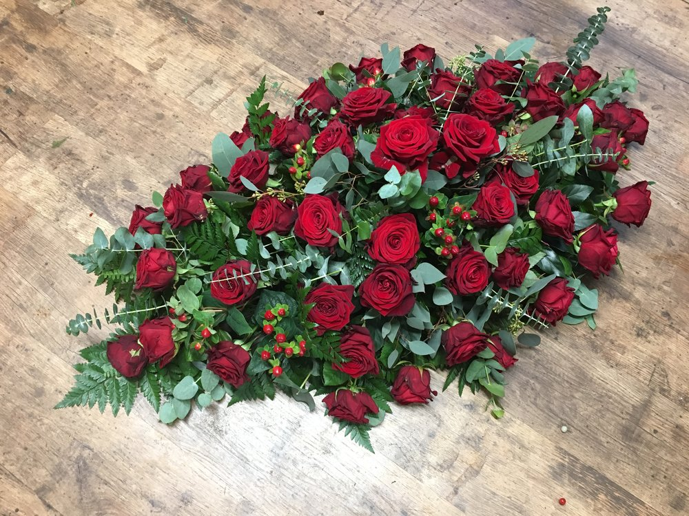 Classic Red Rose Coffin Spray