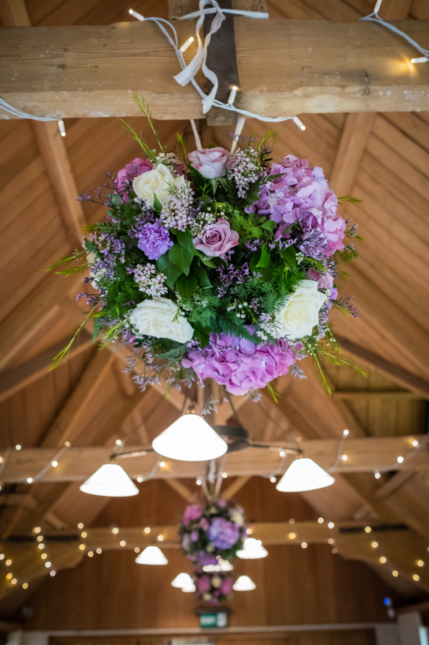 Hanging Pomanders at The Dairy Easter 2016 lilac, pink, white, Roses Hydrangea Tulips.jpeg