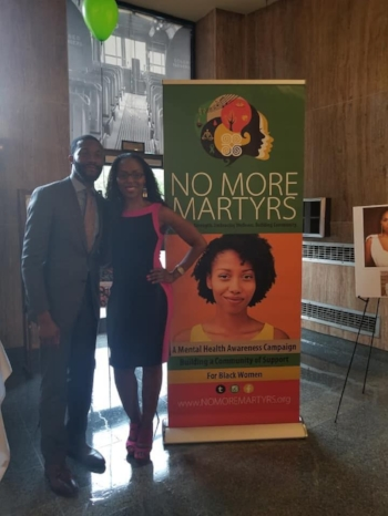 Mayor Randall Woodfin with Dr. Nadia Richardson (Founder of No More Martyrs)